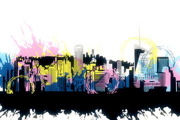 Wall Mural - Bright city sketch