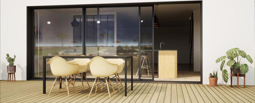vue 3d terrasse avec chaise et grande baie vitrée