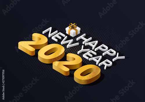 2020 Isometric Happy New Year And Gift Box Greeting Card