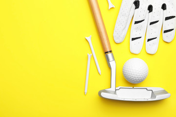 Set of golf equipment on color background, flat lay. Space for text Wall mural