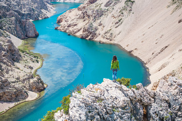 A woman travels to picturesque places in Croatia.