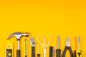 Set of various construction tools. Tools for home repair. Work at a construction site. Flatly. Flatlay.