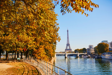 Scenic view to the Eiffel tower over the river Seine