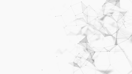 Abstract white digital background. Big data visualization. Science background. Big data complex with compounds. Lines plexus.