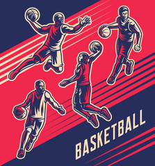 Basketball players vector illustrations collection