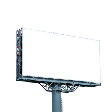 Blank billboard mockup isolated on white background.