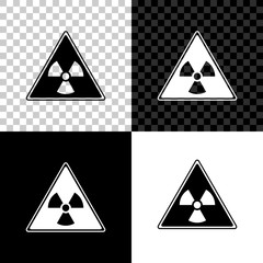 Triangle sign with radiation symbol icon isolated on black, white and transparent background. Vector Illustration