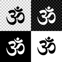 Om or Aum Indian sacred sound icon on black, white and transparent background. Symbol of Buddhism and Hinduism religion. The symbol of the divine triad of Brahma, Vishnu and Shiva. Vector Illustration