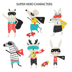 Super Hero - collection of cute and fun kids super hero animals. Vector illustration