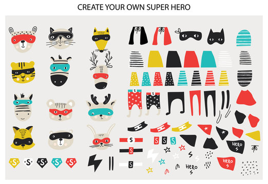 Super Hero collection. Big set of animal faces and Super Hero clothes and elements. Vector illustration