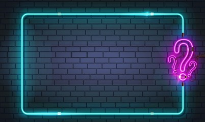 New Realistic neon sign of Quiz frame logo for decoration and covering on the dark wall background. Vector EPS 10
