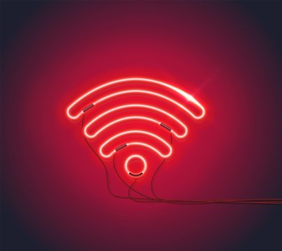 Realistic Retro neon sign Wifi Hotspot on dark background. Can be used for web design, icon, banner. Vector EPS 10