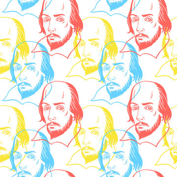Hand drawn William Shakespeare portrait seamless repeat vector pattern. Literary, classical british theatre, english book, education background. Bright colorful texture.