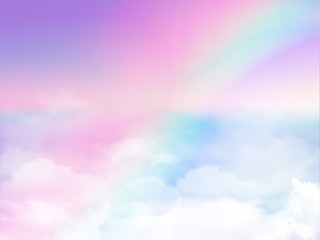 fantasy magical landscape rainbow on sky abstract big volume texture fluffy clouds shine close up view straight