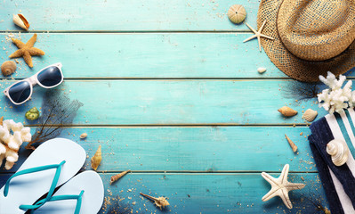 Beach Background - Summer Accessories On Blue Plank