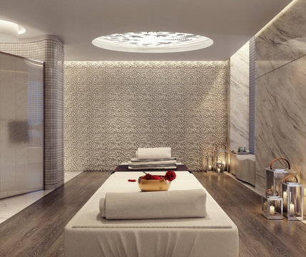 Modern spa and beauty massage salon 3D Rendering