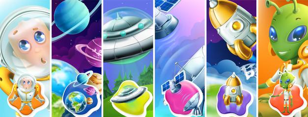Space. Astronaut, planets, ufo, satellite, rocket, alien. 3d vector icon set