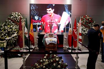 Sevilla FC's president Jose Castro attends the wake of Spanish footballer Reyes in Seville