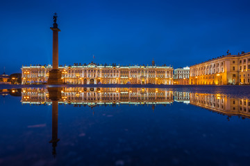 Hermitage museum (Winter Palace) on Palace square at night, Saint Petersburg, Russia