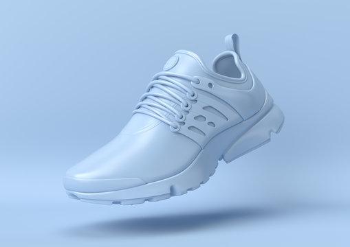 Creative minimal summer idea. Concept blue shoe with pastel background. 3d render..
