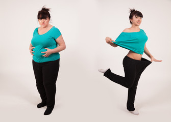 Young woman before and after losing weight. Diet and fitness. Healthy lifestyle. Liposuction .. Nutrition Concept. Lifting Wall mural
