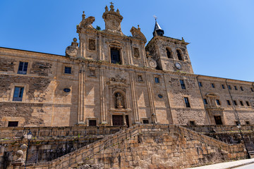 Low angle view of historic monastery in Villafranca del Bierzo, Spain.