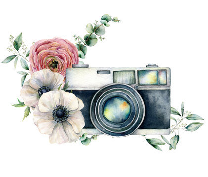 Watercolor card composition with camera and anemone, ranunculus bouquet. Hand painted photographer logo with flower illustration isolated on white background. For design, prints or background.