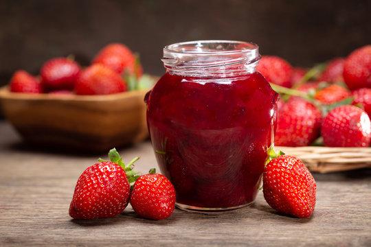 glass jar of strawberry jam