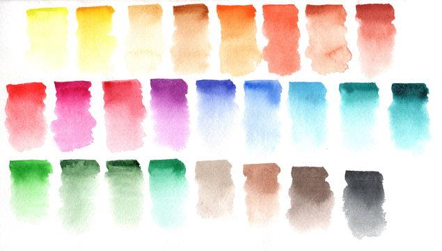 Rainbow colors watercolor paint stains backgrounds set