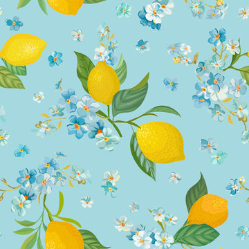Seamless Lemon pattern with tropic fruits, leaves, forget me not flowers background. Hand drawn vector illustration in watercolor style for summer romantic cover, tropical wallpaper, vintage texture