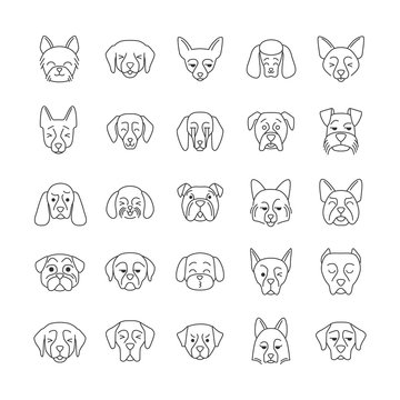 Dogs cute kawaii linear characters