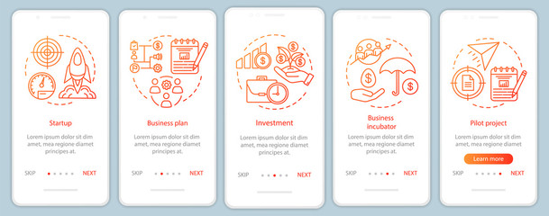 Business industry onboarding mobile app page screen with linear concepts