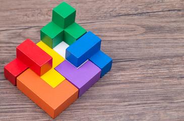 Colorful stack of wood bricks