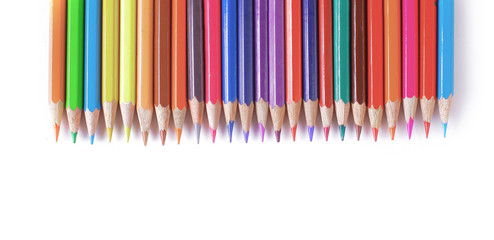 set of colored pencils .isolated on a white
