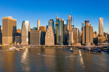 Beautiful lower Manhattan view during sunrise. Amazing New York landscape.