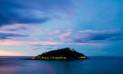 Isla de Santa Clara at Blue Hour - San Sebastián, Spain