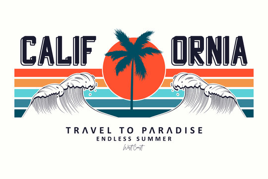 California slogan for t-shirt typography with waves, palm trees and sun. Tee shirt design, trendy apparel print. Vector illustration.