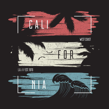 California t-shirt typography with color grunge background, wave and palm trees silhouettes. Trendy apparel design. Vector illustration.