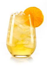 Obraz orange yellow drink with ice cubes and orange slice on white background, isolated - fototapety do salonu