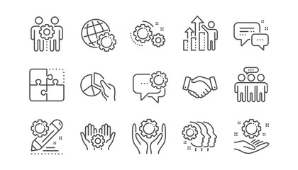 Employees benefits line icons. Business strategy, handshake and people collaboration. Teamwork, social responsibility, people relationship icons. Linear set. Vector