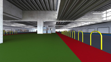 Interior rendering of a warehouse for fruit and vegetable storage, empty, without people, 3d rendering, 3d illustration