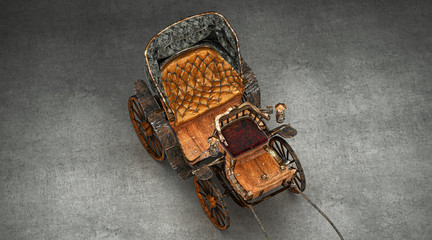Ancient empty wooden carriage, horse-drawn carriage, 3d render, 3d illustration