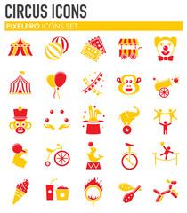 Circus related icons set on background for graphic and web design. Simple illustration. Internet concept symbol for website button or mobile app.