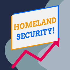 Handwriting text writing Homeland Security. Conceptual photo federal agency designed to protect the USA against threats One blank rectangle above another arrow zigzag upwards increasing sale