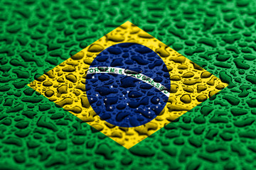 National flag of Brazil made of water drops. Background forecast concept.