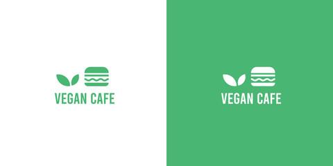 Modern green flat organic vegan burger cafe logo