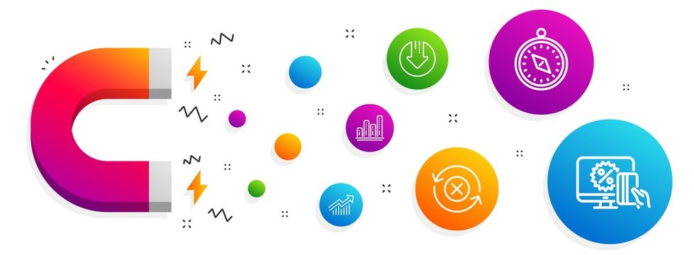 Magnet attracting. Download arrow, Graph chart and Demand curve icons simple set. Reject refresh, Travel compass and Online shopping signs. Crisis, Growth report. Technology set. Vector