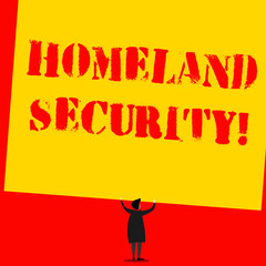 Text sign showing Homeland Security. Business photo text federal agency designed to protect the USA against threats Man stands in back view under huge empty blank big tilted rectangle board