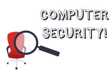 Conceptual hand writing showing Computer Security. Concept meaning protection of computer systems from theft or damage Magnifying Glass Directed at Red Swivel Chair with Arm Rests