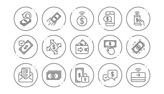 Money payment line icons. Accept transfer, Pay by Phone and Credit card. Cash linear icon set. Line buttons with icon. Editable stroke. Vector